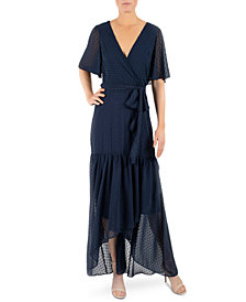 Donna Ricco Tie-Belted Chiffon High-Low Maxi Dress