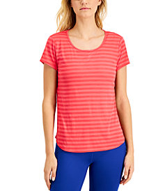 Ideology Plus Size Shadow Stripe T-Shirt, Created for Macy's