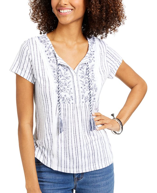 Style & Co Petite American Picnic Mixed-Print Top, Created for Macy's