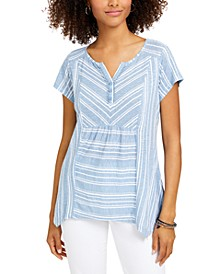 Petite Sammy Star Striped Handkerchief-Hem Top, Created for Macy's