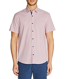 Men's Slim-Fit Star Short-Sleeve Button-Down Shirt