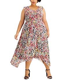 Plus Size Ruffled Printed Dress
