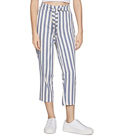 Striped Sash-Belt Pants