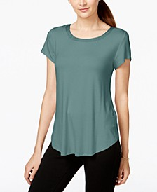 Petite Satin-Trim Back-Pleat Top, Created for Macy's