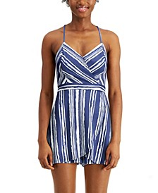 Juniors' Striped Faux-Wrap Romper