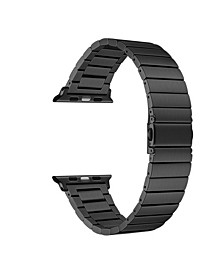 Men and Women Black Stainless Steel Replacement Band for Apple Watch with Removable Links, 38mm