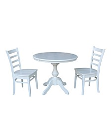 "36"" Round Extension Dining Table with 2 Emily Chairs"