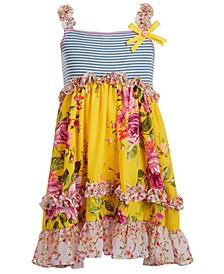 Little Girls Striped Floral-Print Dress
