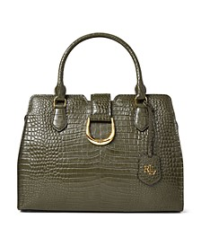 Croc Embossed Leather Medium City Satchel