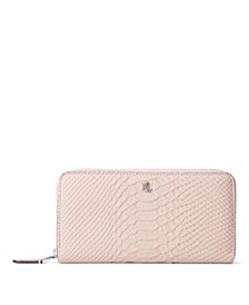 Matte Python Embossed Large Zip Continental Wallet