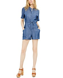 Drawstring-Waist Denim Romper