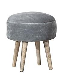 Upholstered Backless Pouf Non-Swivel Vanity Stool