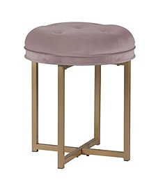 Maura Tufted Backless Metal Vanity Stool