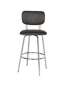 Retro Metal Upholstered Seat and Back Swivel Bar Height Stool, Set of 2