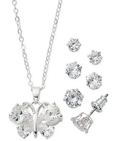 "Fine Silver Plate Cubic Zirconia Butterfly Necklace and Stud Earring Set, 18"" + 3"" extender"