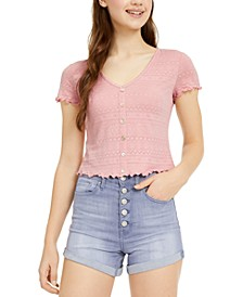 Juniors' Button-Trimmed Lace Top