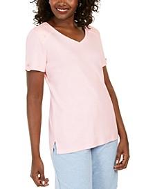 Eyelet-Shoulder V-Neck Top, Created for Macy's
