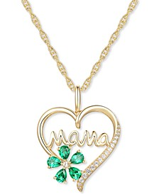 """Lab-Created Emerald (5/8 ct. t.w.) & Lab-Created White Sapphire (1/10 ct. t.w.) Mama 18"""" Pendant Necklace in 10k Gold"""