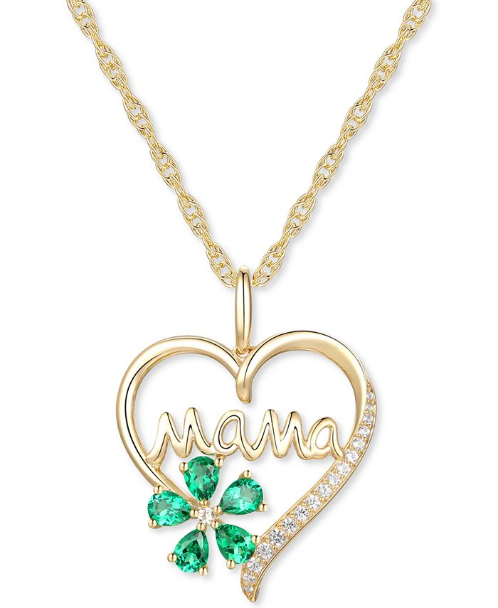 """Macy's - Lab-Created Emerald (5/8 ct. t.w.) & Lab-Created White Sapphire (1/10 ct. t.w.) Mama 18"""" Pendant Necklace in 10k Gold"""