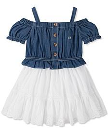 Baby Girls Chambray Flounce Dress