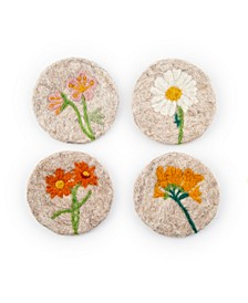 Tan Felted Wool Coasters with Floral Designs Set of 4