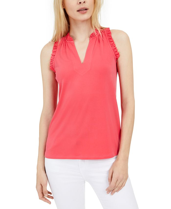 Michael Kors - Plus Size Ruffled V-Neck Top