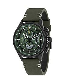 Men's Hawker Hunter Chronograph Avon Edition Green Genuine Leather Strap Watch 45mm