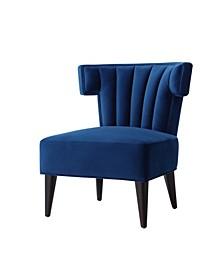 Elmer Velvet Channel Back Accent Chair with Tapered Leg