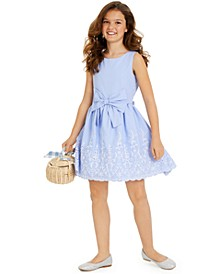 Big Girls Embroidered Eyelet Dress