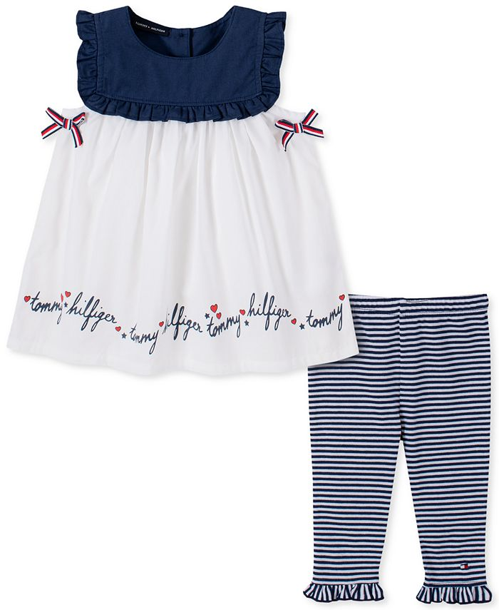Tommy Hilfiger - Baby Girls 2-Pc. Bow Tunic & Striped Leggings Set