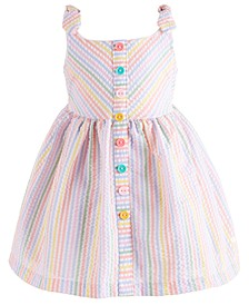 Baby Girls Rainbow-Stripe Seersucker Dress