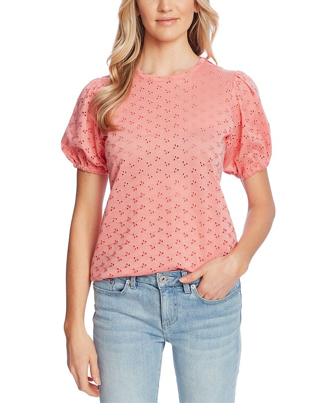 CeCe Puffed-Sleeve Eyelet Top