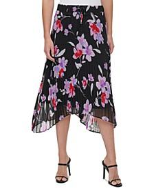Plus Size Floral-Print Midi Skirt