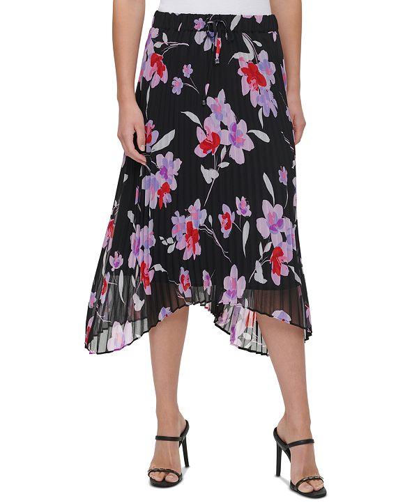 Calvin Klein Plus Size Floral-Print Midi Skirt