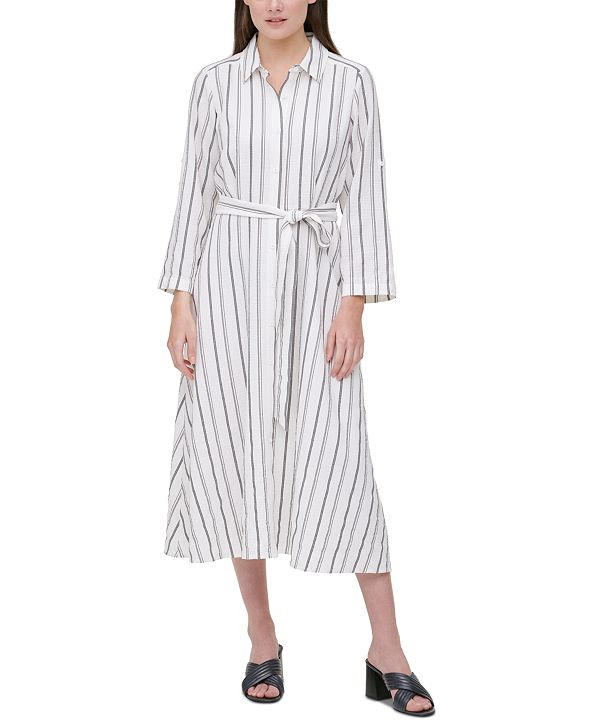 Calvin Klein Plus Size Striped Shirtdress