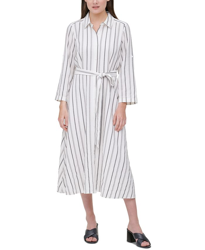 Calvin Klein - Plus Size Striped Shirtdress