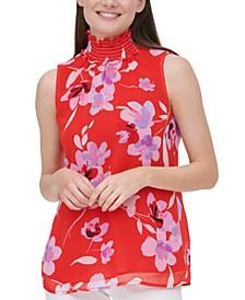 Floral-Print Smocked-Neck Top