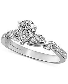 Diamond Pear Center Engagement Ring (3/4 ct. t.w.) in 14k White Gold