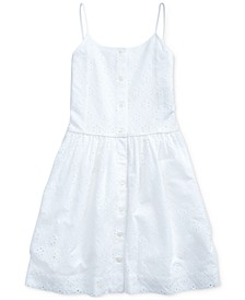 Big Girls Eyelet Buttoned Cotton Dress