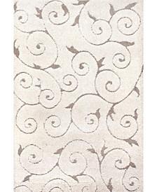 "Pattern Shag Vine Swirls Maisha Cream 3'3"" x 5' Area Rug"
