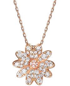"Swarovski Rose Gold-Tone Eternal Flower Pendant Necklace, 14-7/8"" + 2"" extender"