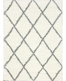 Plush Shag Soft and Plush Diamond Gray 4' x 6' Area Rug