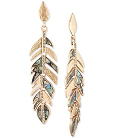 Gold-Tone Pavé & Stone Feather Linear Drop Earrings