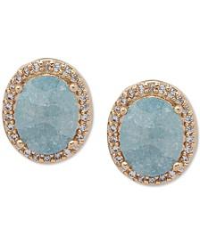 Gold-Tone Pavé & Stone Oval Stud Earrings