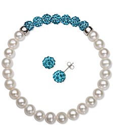 2-Pc. Set Cultured Freshwater Pearl (6-7mm) & Crystal Stretch Bracelet & Matching Stud Earrings