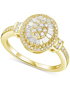 Diamond Baguette Halo Cluster Ring (1/2 ct. t.w.) in 14k Gold or Rose Gold