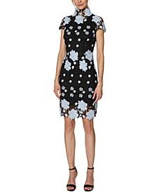 Mock-Neck Lace Web Dress