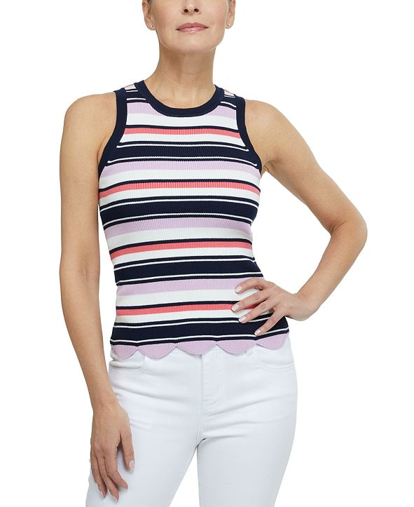 Laundry by Shelli Segal Striped Ribbed Tank Top