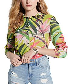 Clouis Collared Tropical-Print Top