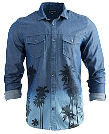INC Men's Printed Denim Shirt, Created for Macy's